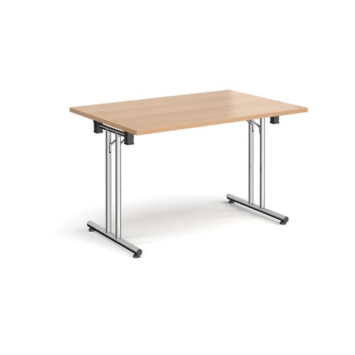 Rectangular folding leg table with chrome legs and straight foot rails 1200mm x 800mm - beech