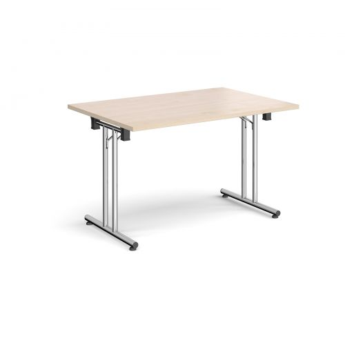 Rectangular folding leg table with chrome legs and straight foot rails 1200mm x 800mm - maple