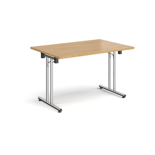 Rectangular folding leg table with chrome legs and straight foot rails 1200mm x 800mm - oak