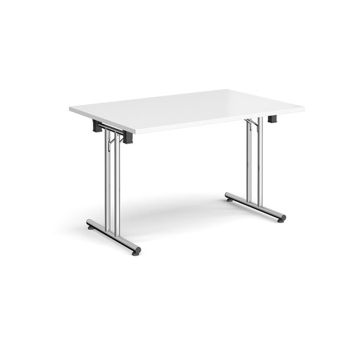 Rectangular folding leg table with chrome legs and straight foot rails 1200mm x 800mm - white