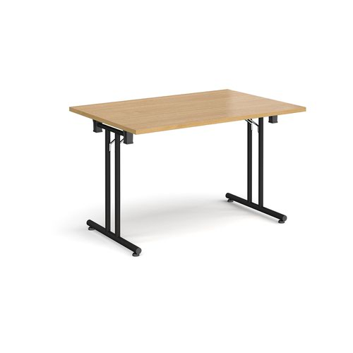 Rectangular folding leg table with black legs and straight foot rails 1200mm x 800mm - oak