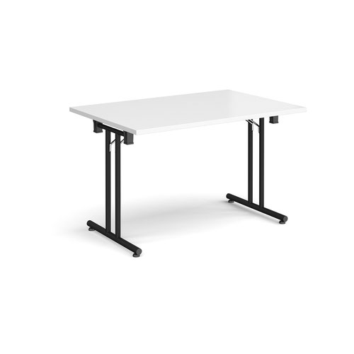 Rectangular folding leg table with black legs and straight foot rails 1200mm x 800mm - white