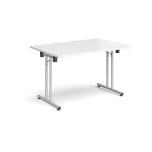 Rectangular folding leg table with silver legs and straight foot rails 1200mm x 800mm - white
