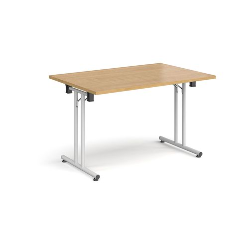 Rectangular folding leg table with white legs and straight foot rails 1200mm x 800mm - oak