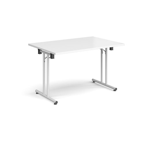 Rectangular folding leg table with white legs and straight foot rails 1200mm x 800mm - white