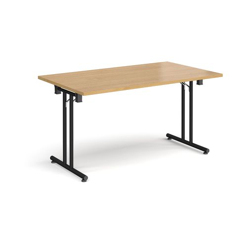 Rectangular folding leg table with black legs and straight foot rails 1400mm x 800mm - oak