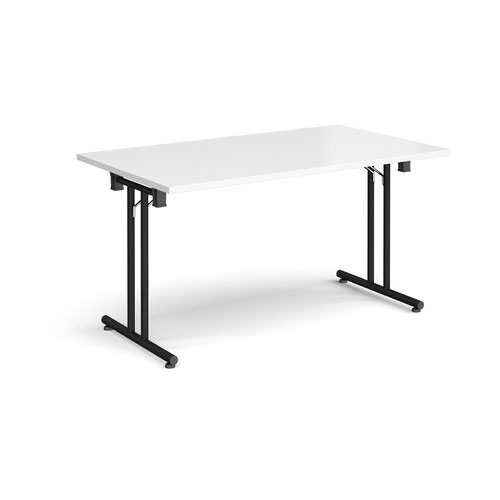 Rectangular folding leg table with black legs and straight foot rails 1400mm x 800mm - white