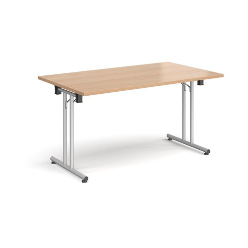 Rectangular folding leg table with silver legs and straight foot rails 1400mm x 800mm - beech