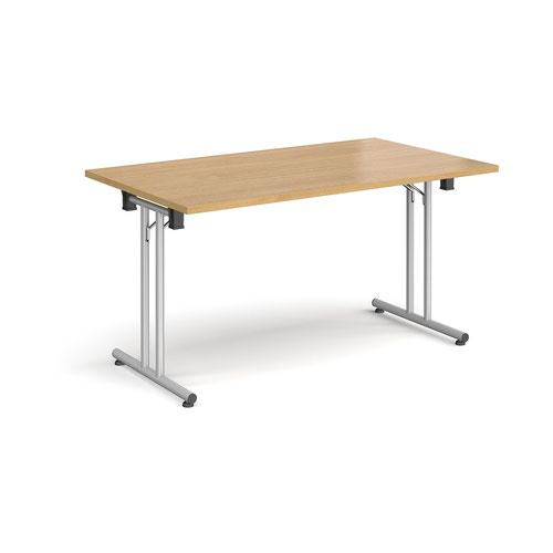 Rectangular folding leg table with silver legs and straight foot rails 1400mm x 800mm - oak