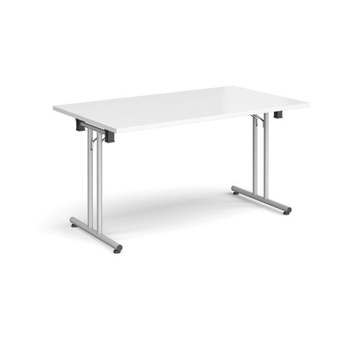 Rectangular folding leg table with silver legs and straight foot rails 1400mm x 800mm - white