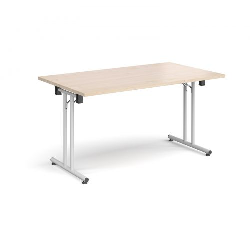 Rectangular folding leg table with white legs and straight foot rails 1400mm x 800mm - maple