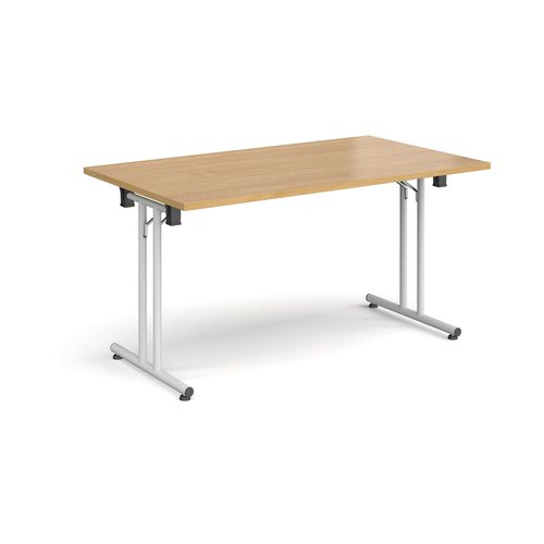 Rectangular folding leg table with white legs and straight foot rails 1400mm x 800mm - oak