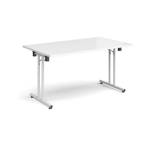 Rectangular folding leg table with white legs and straight foot rails 1400mm x 800mm - white
