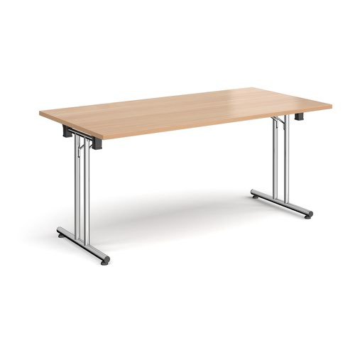 Rectangular folding leg table with chrome legs and straight foot rails 1600mm x 800mm - beech