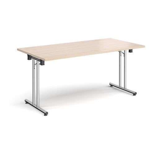 Rectangular folding leg table with chrome legs and straight foot rails 1600mm x 800mm - maple