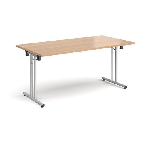 Rectangular folding leg table with silver legs and straight foot rails 1600mm x 800mm - beech