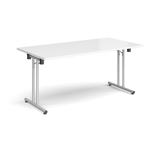 Rectangular folding leg table with silver legs and straight foot rails 1600mm x 800mm - white
