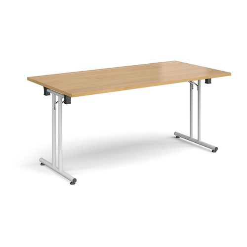 Rectangular folding leg table with white legs and straight foot rails 1600mm x 800mm - oak