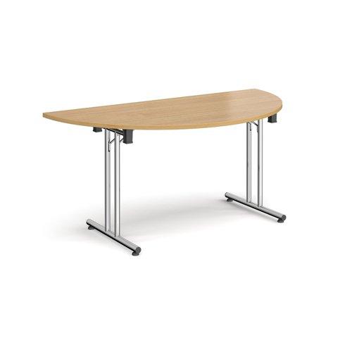 Semi circular folding leg table with chrome legs and straight foot rails 1600mm x 800mm - oak