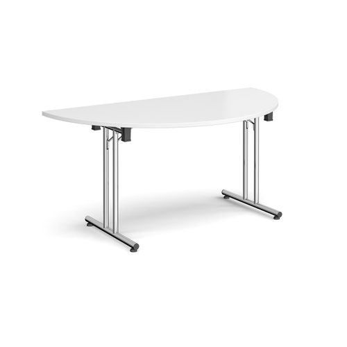 Semi circular folding leg table with chrome legs and straight foot rails 1600mm x 800mm - white