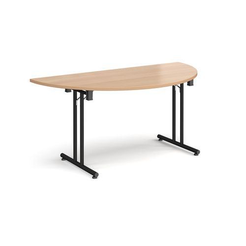 Semi circular folding leg table with black legs and straight foot rails 1600mm x 800mm - beech