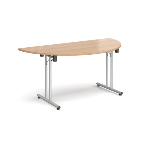 Semi circular folding leg table with silver legs and straight foot rails 1600mm x 800mm - beech