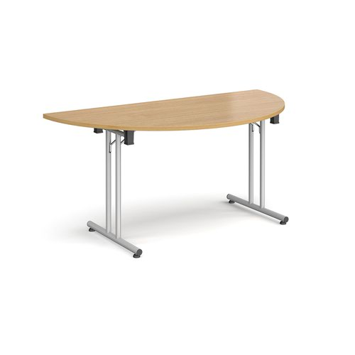 Semi circular folding leg table with silver legs and straight foot rails 1600mm x 800mm - oak