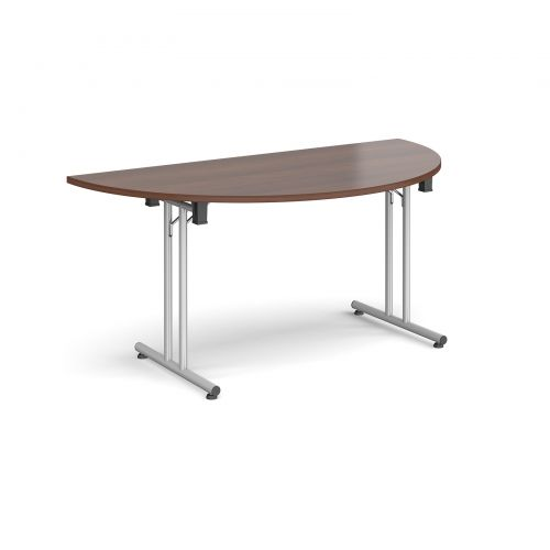 Semi circular folding leg table with silver legs and straight foot rails 1600mm x 800mm - walnut