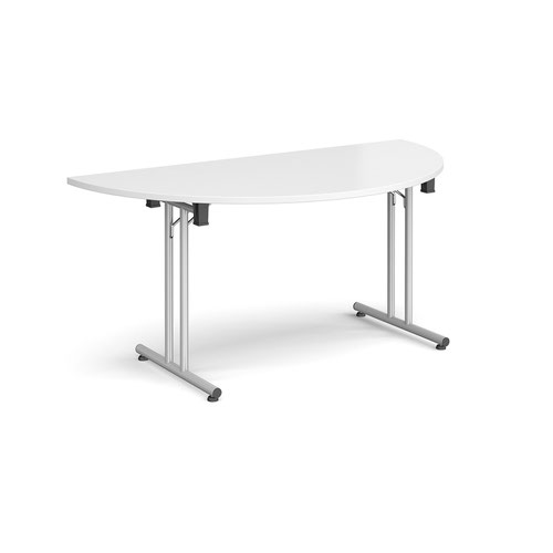 Semi circular folding leg table with silver legs and straight foot rails 1600mm x 800mm - white