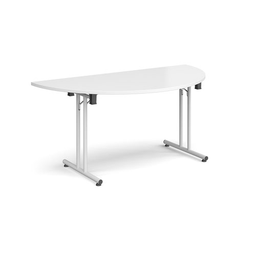 Semi circular folding leg table with white legs and straight foot rails 1600mm x 800mm - white