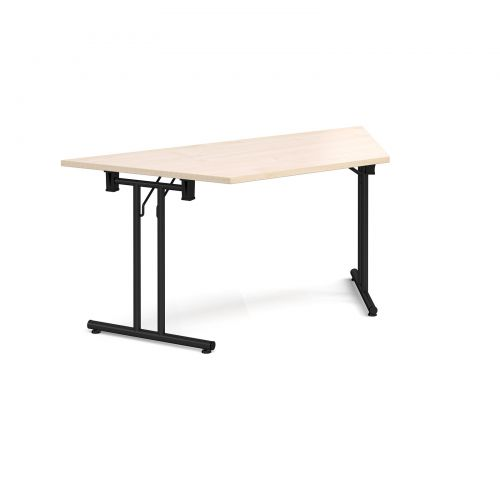 Trapezoidal folding leg table with black legs and straight foot rails 1600mm x 800mm - maple