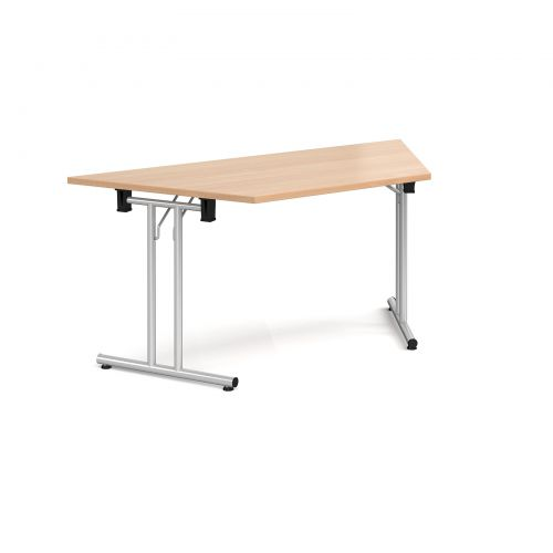 Trapezoidal folding leg table with silver legs and straight foot rails 1600mm x 800mm - beech