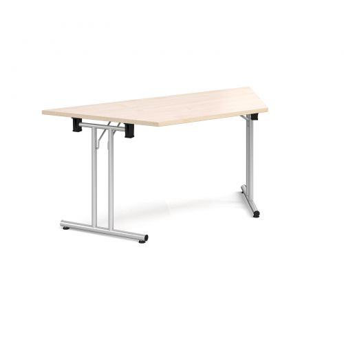 Trapezoidal folding leg table with silver legs and straight foot rails 1600mm x 800mm - maple