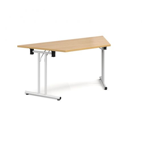Trapezoidal folding leg table with white legs and straight foot rails 1600mm x 800mm - oak