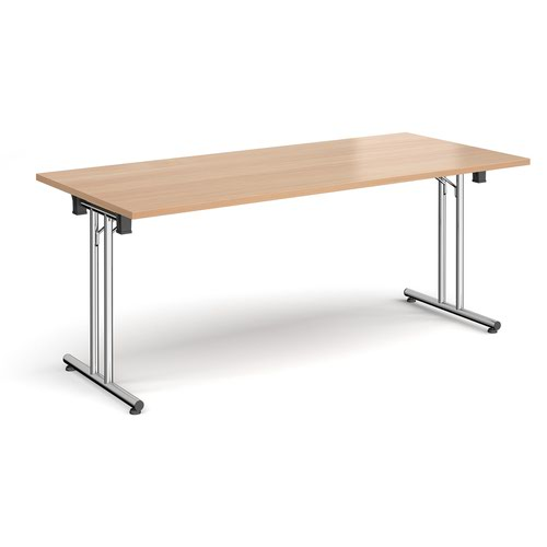 Rectangular folding leg table with chrome legs and straight foot rails 1800mm x 800mm - beech