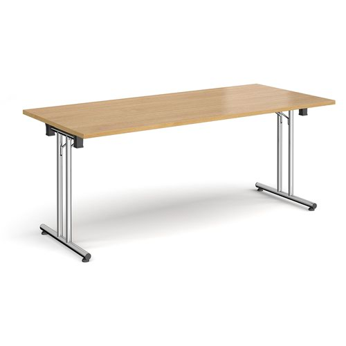 Rectangular folding leg table with chrome legs and straight foot rails 1800mm x 800mm - oak