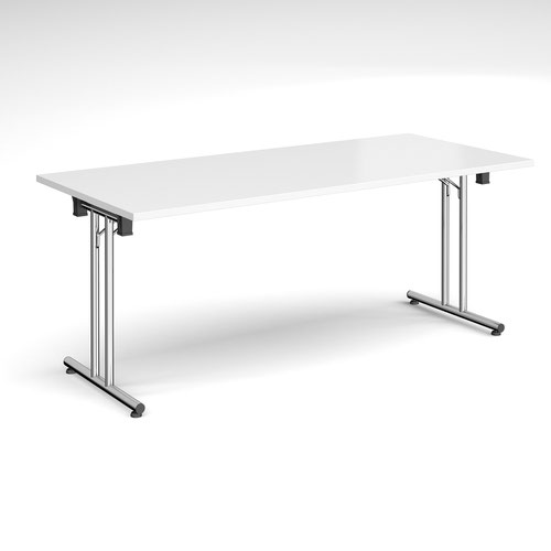 Rectangular folding leg table with chrome legs and straight foot rails 1800mm x 800mm - white
