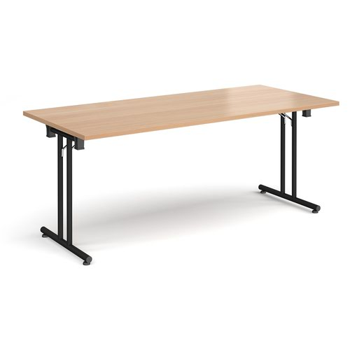 Rectangular folding leg table with black legs and straight foot rails 1800mm x 800mm - beech