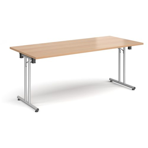 Rectangular folding leg table with silver legs and straight foot rails 1800mm x 800mm - beech