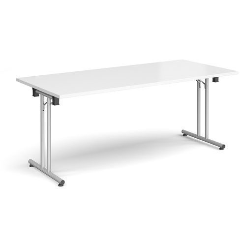 Rectangular folding leg table with silver legs and straight foot rails 1800mm x 800mm - white