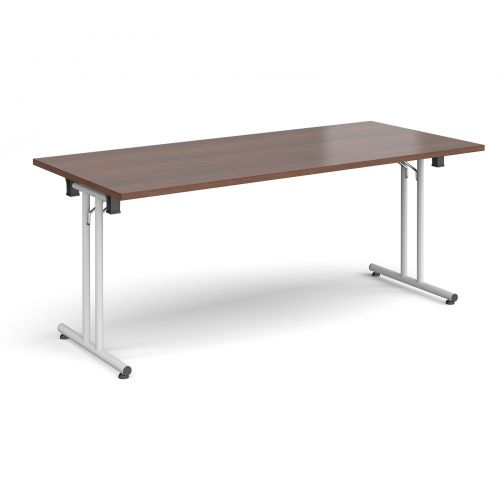 Rectangular folding leg table with white legs and straight foot rails 1800mm x 800mm - walnut
