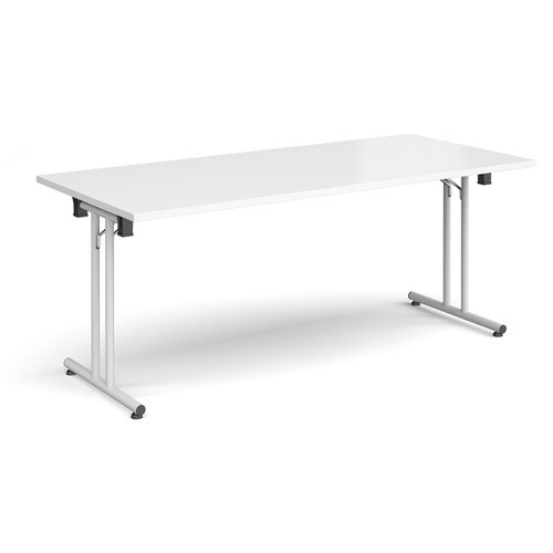 Rectangular folding leg table with white legs and straight foot rails 1800mm x 800mm - white