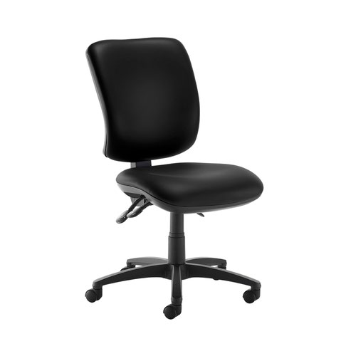 Senza high back operator chair with no arms - Nero Black vinyl