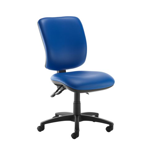 Senza high back operator chair with no arms - Ocean Blue vinyl