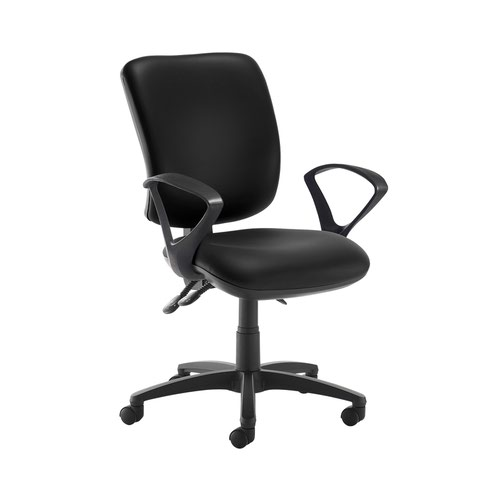 Senza high back operator chair with fixed arms - Nero Black vinyl