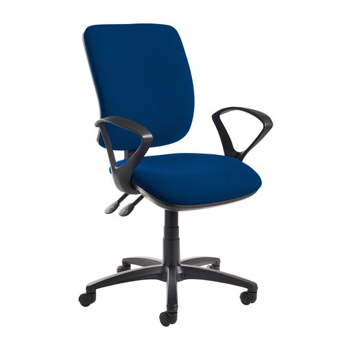 Senza high back operator chair with fixed arms - Curacao Blue