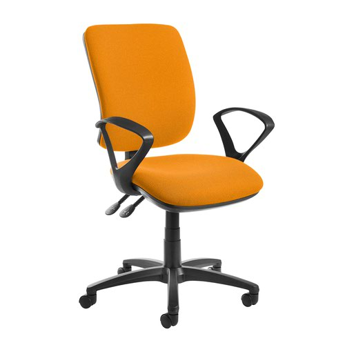 Senza high back operator chair with fixed arms - Solano Yellow