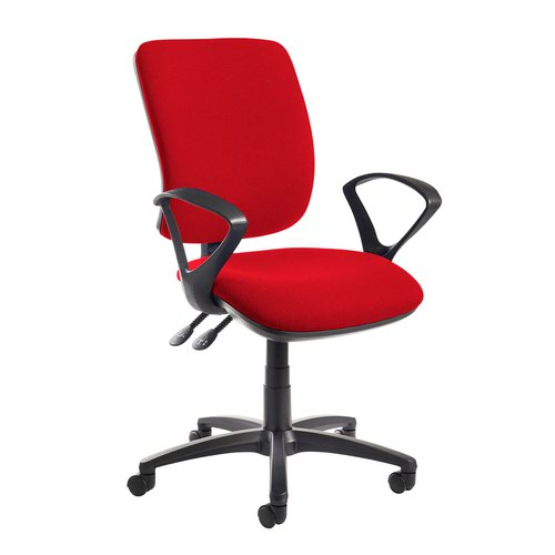 Senza high back operator chair with fixed arms - Panama Red