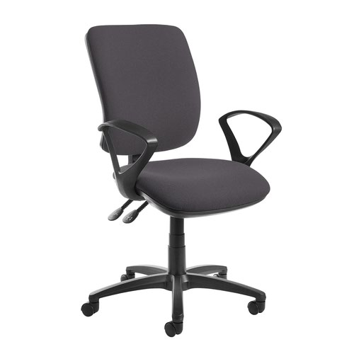 Senza high back operator chair with fixed arms - Blizzard Grey