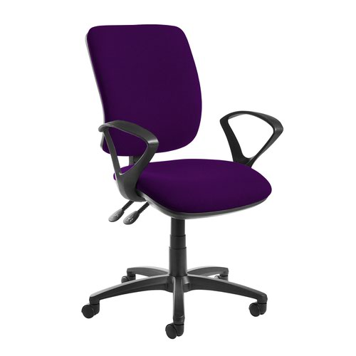 Senza high back operator chair with fixed arms - Tarot Purple